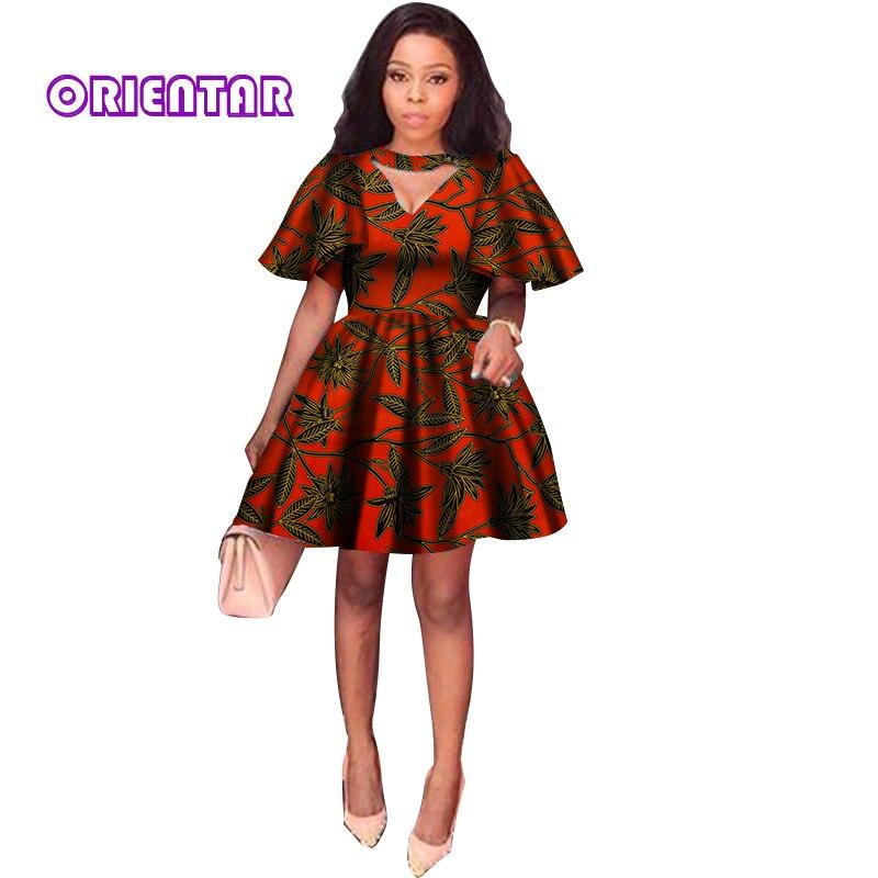 2018 D'été Robes Africaines pour Femmes Impression Tradition Dashiki Robe Manches Courtes décontracté Vêtements Indiens Dame Vêtements WY2869 - 4