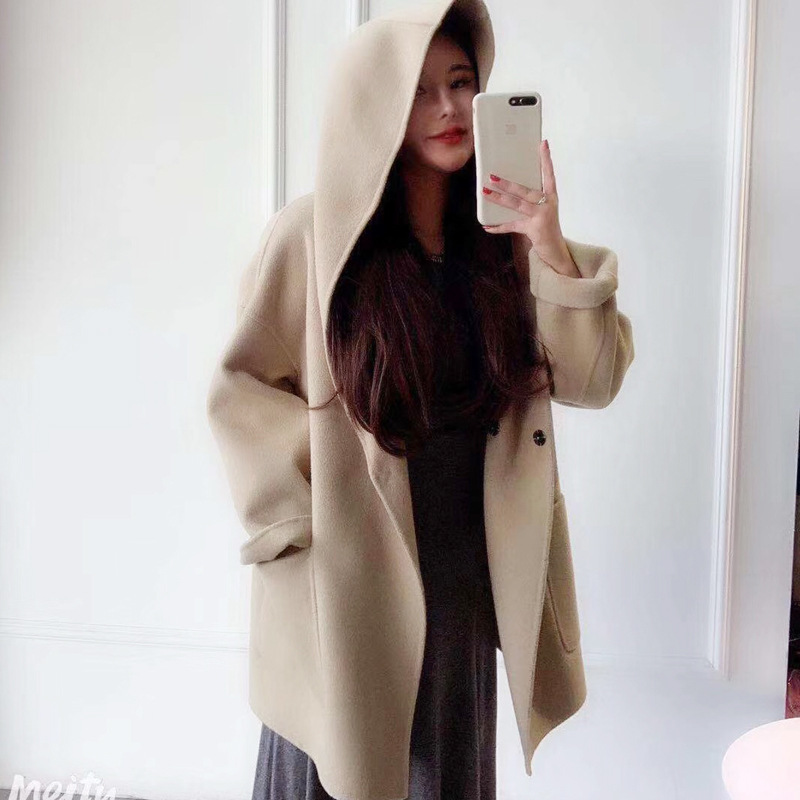 Cute Double side Cozy Warm Hoodie Wool Coat High Quality Elegant Autumn Winter Jacket Loose Oversize Casaco Feminino Inverno - 2