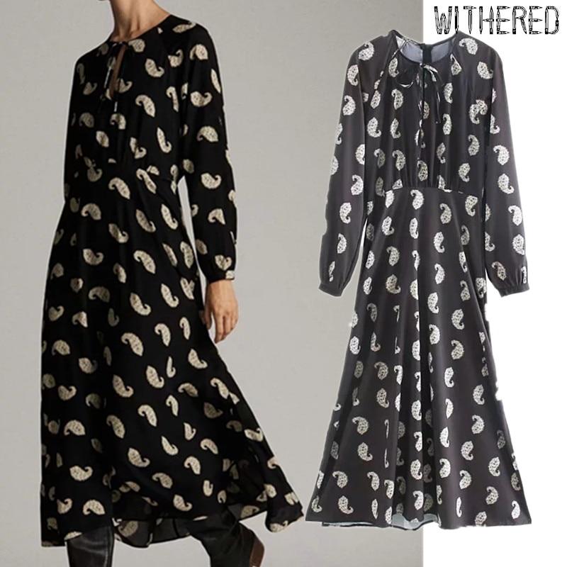 Withered Autumn Midi Dress Women England Elegant Cashew Printing Loose Vestidos De Fiesta De Noche Vestidos Maxi Dress Blazer