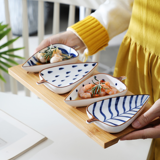 Creative Leaf Shape Seasoning Bowl Ceramic Multipurpose Small Plates Appetizers Snack Dish Sauce Kitchen Dishes Sushi Cake Tray 2