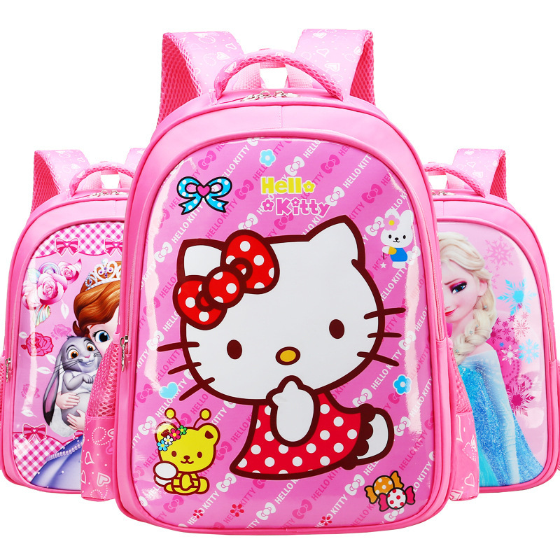 Hello Kitty Spiderman Burden Alleviation School Backpack Cute Cartoon School Bags For Boys Girls Kids Bags Children Backpack