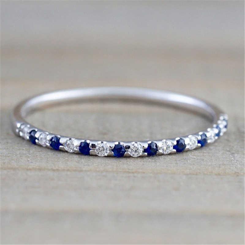 Чистое серебро сапфировое кольцо обручальное кольцо с фианитами свадебное Ювелирное кольцо для женщин и мужчин Anillos Bizuteria драгоценный камень кольцо коробка серебряные украшения gümüş серебро 925 8 марта