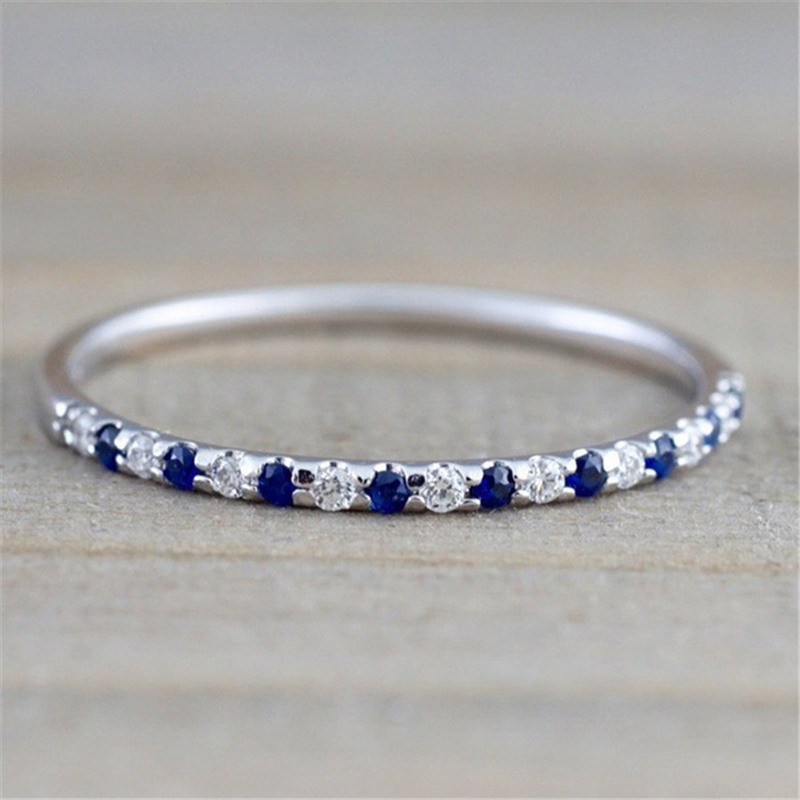 Silver Color Sapphire Ring CZ Zircon Engagement Wedding Jewelry Ring For Women And Men Anillos Bizuteria Gemstone Ring