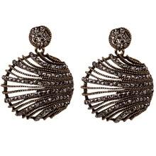 цена на Korean Earrings for Women Trendy 3D Half Ball Round Statement Earings Fashion Jewelry Black Cz Crystal Gold Tone