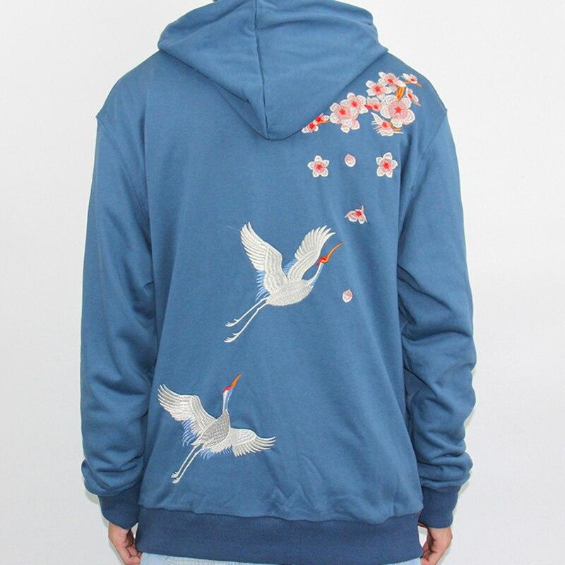 Image 3 - 2019 Streetwear Hip Hop Hoodie Sweatshirt Embroidery Japanese  Sakura Crane Men Harajuku Hoodie Pullover Cotton Blue Japan  StyleHoodies