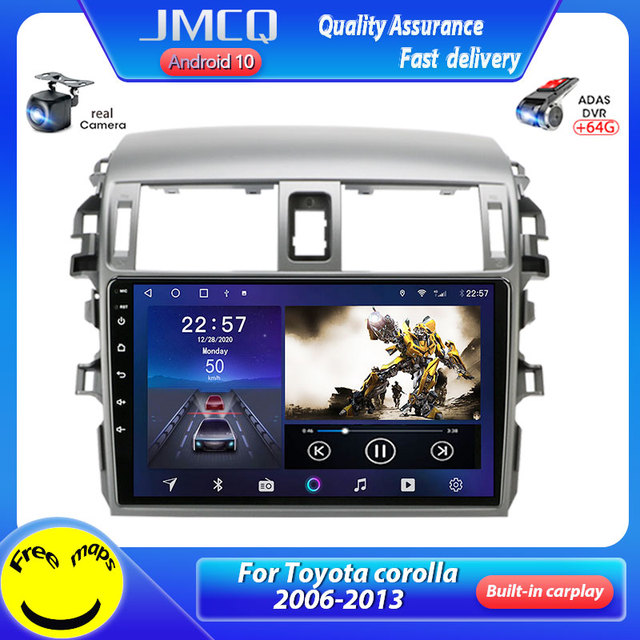JMCQ אנדרואיד 10.0 רכב רדיו Multimidia נגן וידאו עבור טויוטה קורולה E140/150 2006 2013 2 דין 4G GPS Navigaion AM פיצול מסך