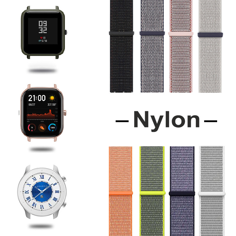 Amazfit Bip Watch Strap Pace GTS GTR Band Nylon Bracelet For Xiaomi Smart Accessories 20mm 22mm Watchband Amazfit Bip Strap