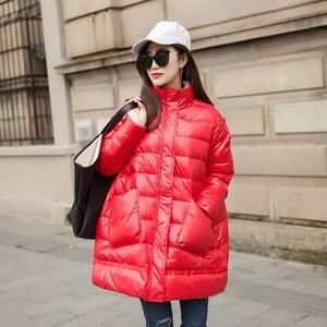 Image 3 - Ftlzz 새로운 겨울 다운 재킷 여성 느슨한 울트라 라이트 화이트 오리 코트 파커 여성 터틀넥 포켓 두꺼운 따뜻한 오버 코트