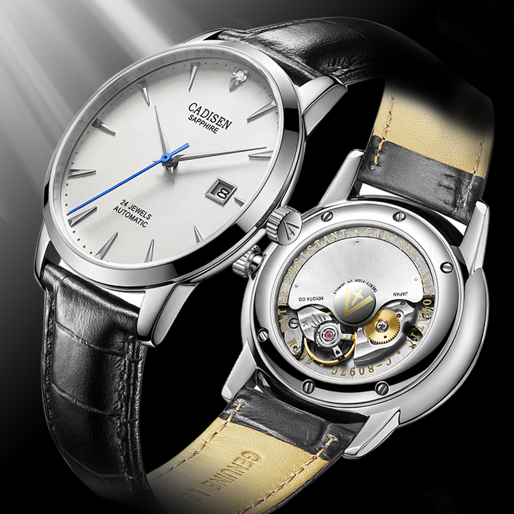 Cadisen 2019 novos relógios masculinos relógio mecânico automático masculino negócios relógio de pulso dos homens miyota 9015 movimento relogio masculino