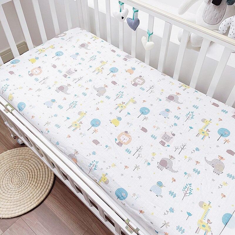 Nordic Newborn Baby Cot Sheet On Elastic Children Cradle Matress Cover Cotton Cartoon Print Kids Bedding Set Sheet 120*60cm