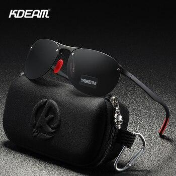 KDEAM Rimless Oval Men's Sunglasses Polarized TR90 Material Frame TAC Polarization Lense Soft Rubber Foot Cover