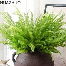 Пластиковые искусственные зеленые растения, 45 см, 7 вилок, искусственные персидские листья, Декор для дома и свадьбы