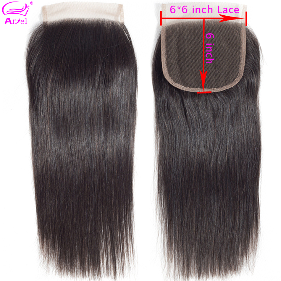 Ariel Lace Closure Human-Hair 6x6 Swiss Remy Cheveux Straight