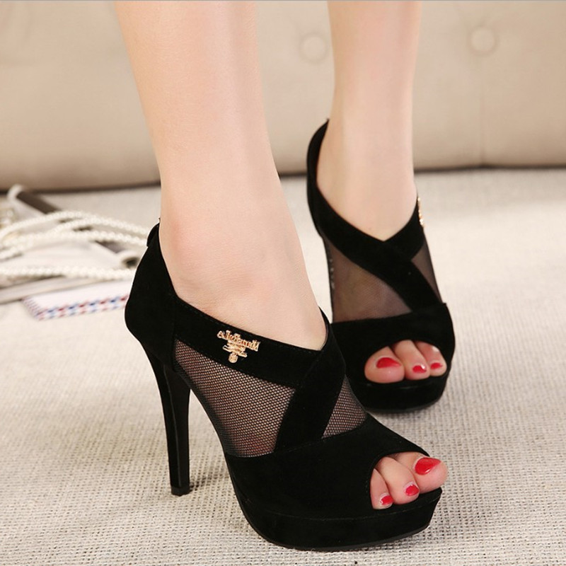2018 Summer New Womens Shoes Sexy Mesh Hollow Fish Mouth High-heeled Sandals Female.