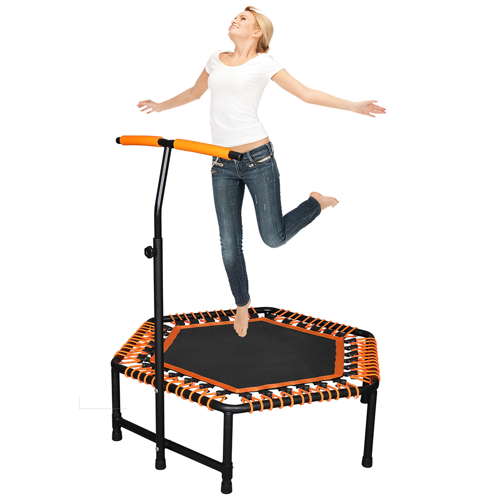 Permalink to 42 x 50 inch Hexagon Trampoline with Adjustable Handle Bar for Adult / Kid Fitness Trampoline Bungee Rebounder Jumping