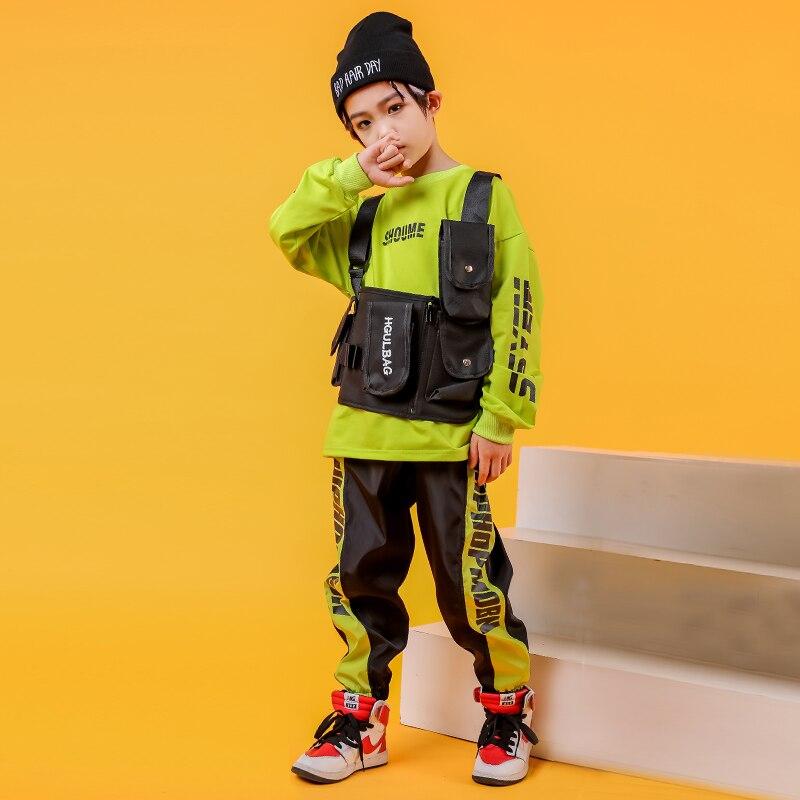 Kids Ballroom Green Sweatshirt Shirt Tops Running Casual Hip Hop Pants Clothing For Girls Boy Jazz Dance Costume Clothes Outfit