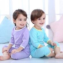 Детские пижамы для малышей хлопковые влагоотводящие укороченные брюки с рукавами с пятью точками однотонные детские пижамы с круглым вырезом