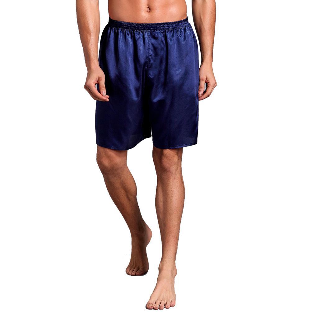 Большой размер 3XL халат для мужчин вышивка платье с драконами ночное белье мягкое атласное Lounge Ночная рубашка пижамы сексуальное свободное повседневное кимоно платье - Цвет: Navy Blue Shorts