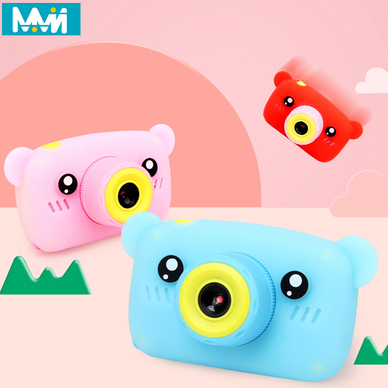 HobbyLane Portable Children 1300W HD Digital Camera Cute Cartoon Bear Shape 2 Inches IPS Screen Mini Camera Toy Gift For Kids image