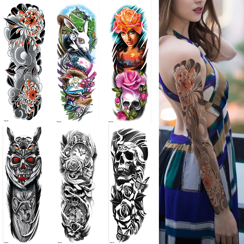 Temporary Tattoos Full Arm And Half Arm Tattoo Sleeves For Men Women 1Sheets