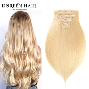 """Doreen #1b #2 #4 #8 #613 Clip In Human Hair Extensions 90G-200G Brazilian Machine Made Remy Hair Clip Ins Straight 16""""-22""""(China)"""