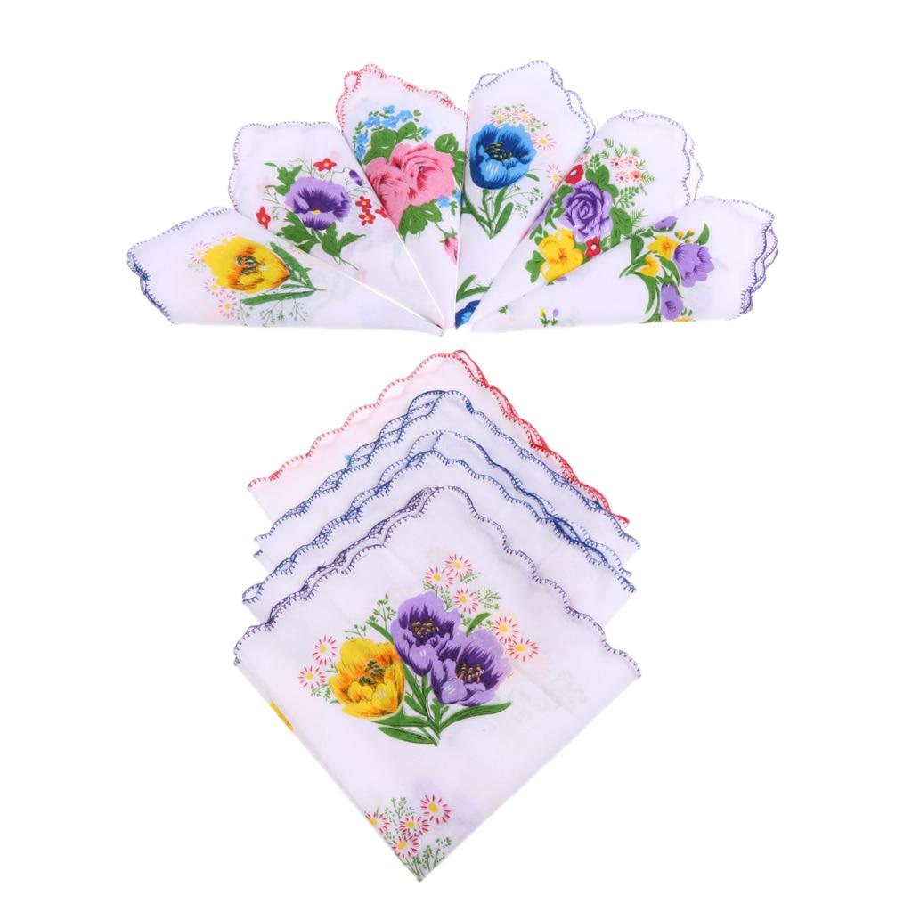 10pcs Women 100% Cotton White Handkerchiefs Assorted Colourful Flowers Gift