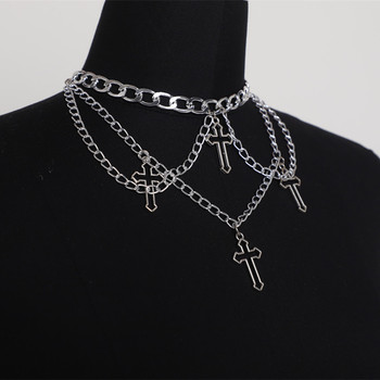 Punk Geometric Silver Color Chain Hollow Cross Pendant Necklaces For Women Trendy Statement Metal Chain Hip Hop Jewelry Necklace image