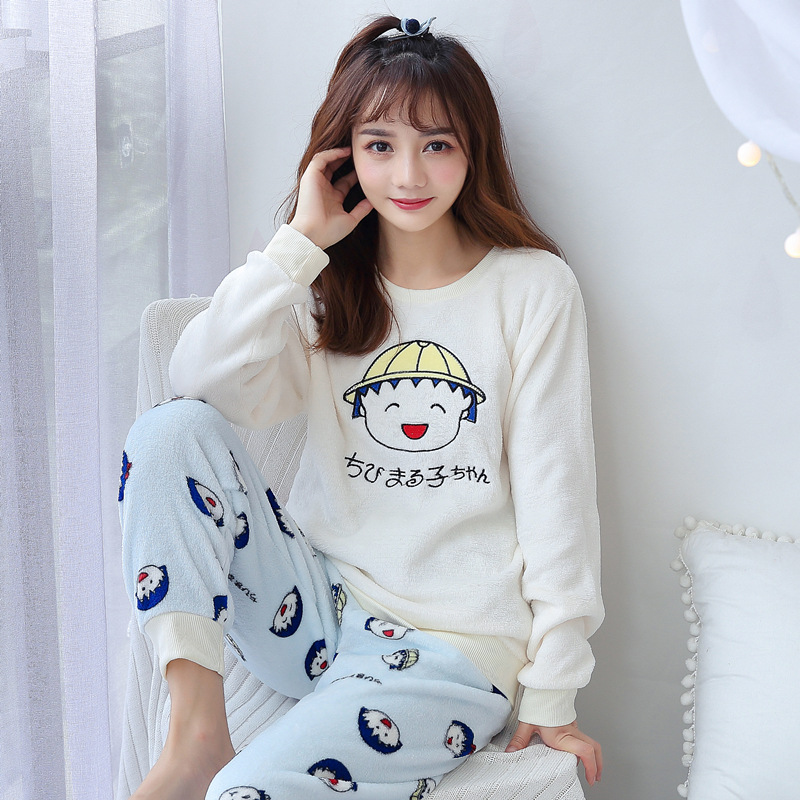 Autumn & Winter Flannel Thick Confinement Clothing Postpartum Breastfeeding Clothes Feeding Coral Velvet Pregnant Women Pajamas