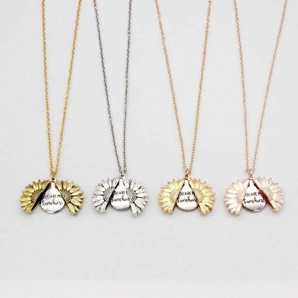 """Mode Boho pendentif collier """"vous êtes mon soleil"""" alliage de tournesol ouvert médaillon colliers pour les femmes amant collier bijoux"""
