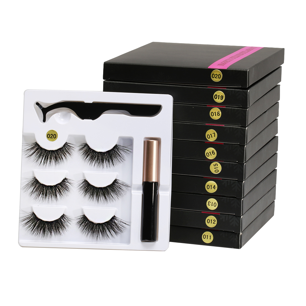 5 Magnet Eyelash Magnetic Liquid Eyeliner&Magnetic False Eyelashes&Tweezer Set Waterproof Long Lasting Eyelash Extension Tools 5