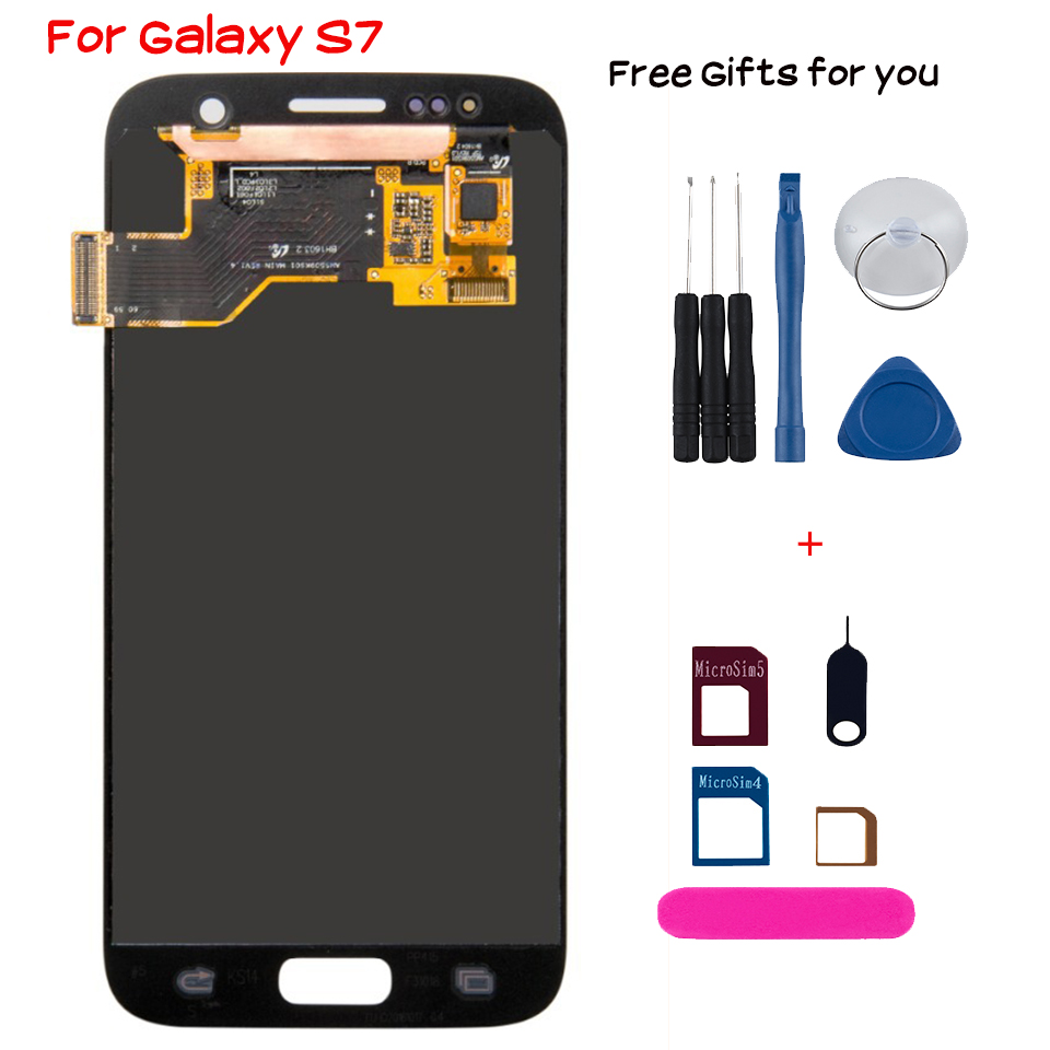 New Lcd display for <font><b>Samsung</b></font> Galaxy <font><b>S7</b></font> with frame touch <font><b>screen</b></font> Assembly Replacement G930 G930F <font><b>Digitizer</b></font> smartphone OLED module image