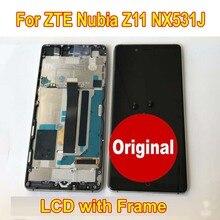 100% original melhor trabalho sensor de vidro para zte nubia z11 nx531j display lcd tela do painel toque digitador assembléia com quadro
