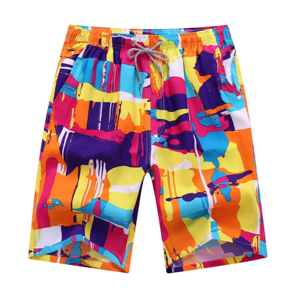 Wholesales Men's Board Shorts Plus Size Beach Shorts Summer Beach Pants Men Colorful Drawstring Swimming Trunks Men Boardshorts