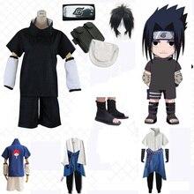 Anime Naruto Uchiha Sasuke Cosplay Costumi 4 stili Degli Uomini Del Partito di Fantasia Uniforme Outfit Parrucche Scarpe Puntelli per Vestiti di Halloween