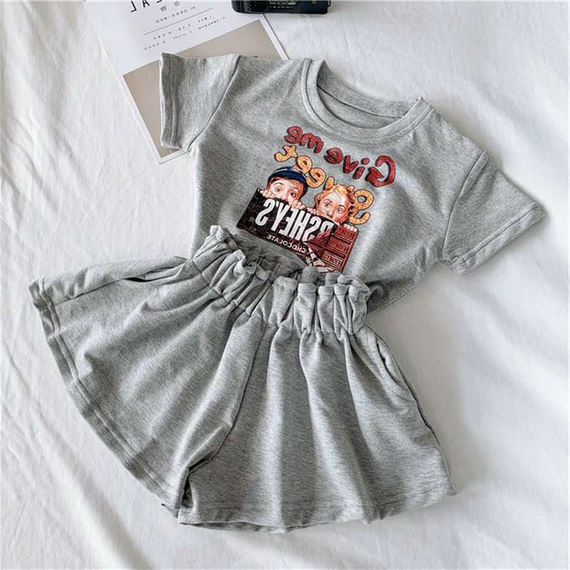 Girls Suit Letter Cartoon T-shirt + Skirt Pants 2020 Summer New Children's Clothing 3-8 Years Old Round Neck Short Sleeve Cotton