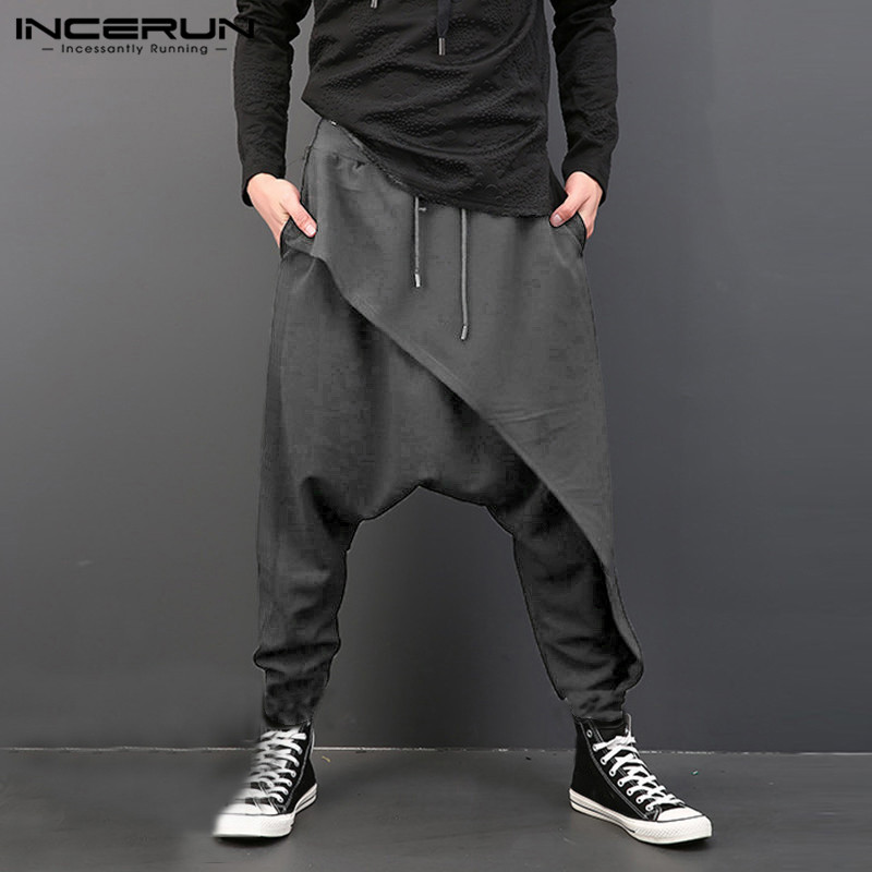 INCERUN Fashion Men Harem Pants Elastic Waist Loose Drop-crotch Trousers Men Streetwear Punk Style Casual Joggers Pants 2020 5XL