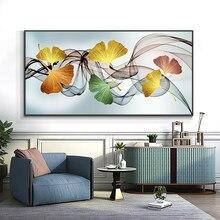 Ginkgo folha e pena em tela impressão pintura nórdico cartaz da parede arte imagem para sala de estar decoração casa sem moldura