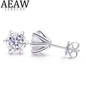 AEAW круглый Moissanite Cut всего 4ctw Алмазный тест прошел Moissanite серьги серебристого цвета; Бижутерия подарок девушке