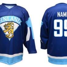 Команда Finland Белый Синий Ретро Возврат хоккейная Джерси Вышивка сшитая настроить любой номер и имя
