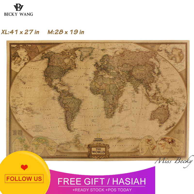 Map World Poster New Vintage World Map Travel Home Decoration Detailed Antique Poster Wall Chart Retro Paper Matte Kraft Paper