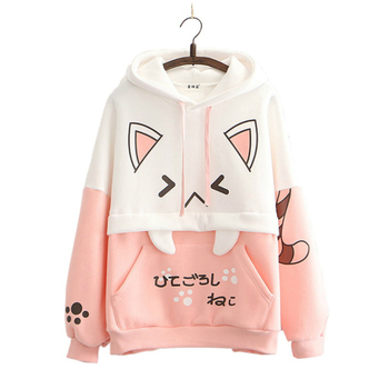Harajuku Pink Cartoon Print Casual Pullover Hoodies Hooded Sweatshirt Women 2021 Winter Sweet Style Female Cute Kawaii Tracksuit image