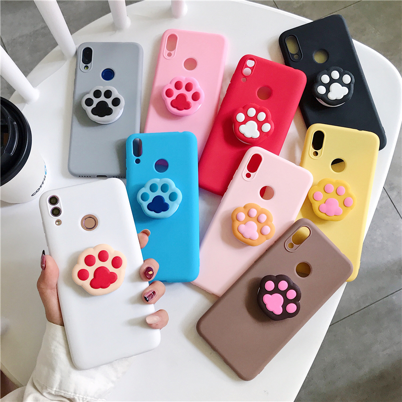 V15 Cat Claw Phone Holder <font><b>Case</b></font> For <font><b>Vivo</b></font> Y51 <font><b>Y53</b></font> Y55 Y66 Y67 Y17 Y71 Y75 Y79 Y85 Y83 Y81 Y91 Y97 V11 Silicone Cover Cartoon image