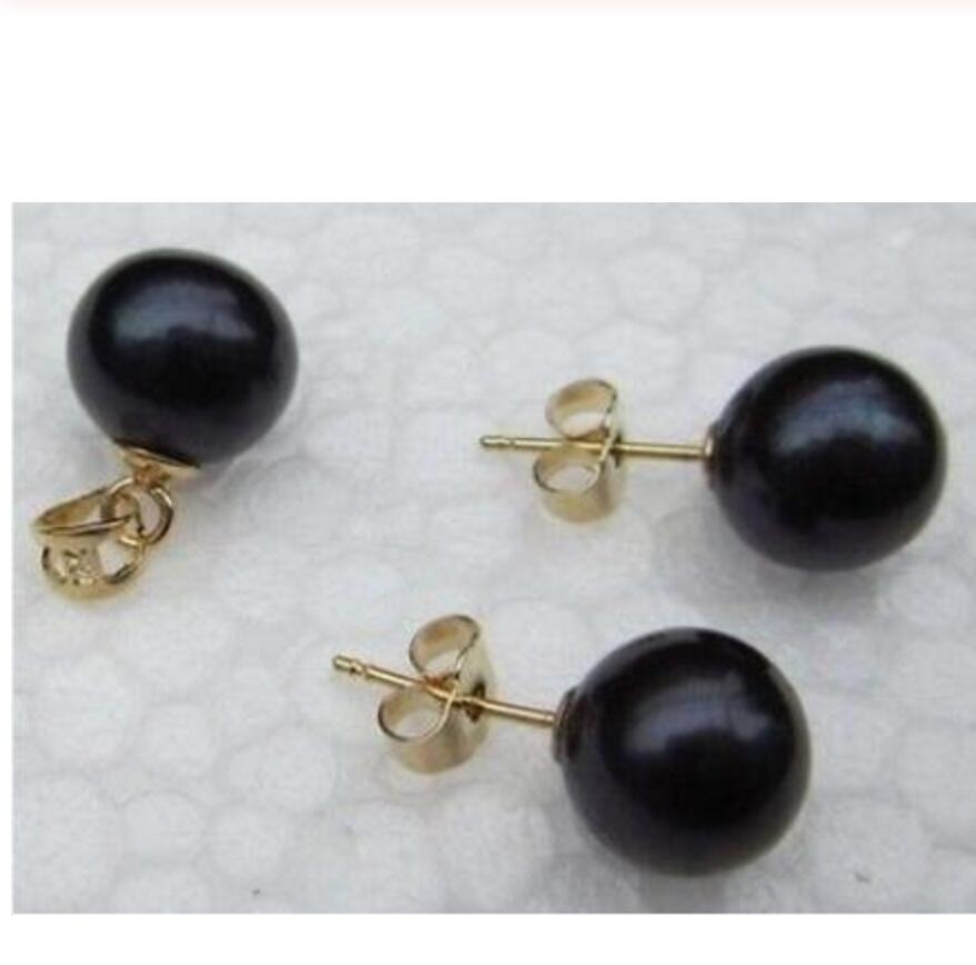 new hot Perfect set of AAA10-11mm round south sea black pearl pendant earring 14k