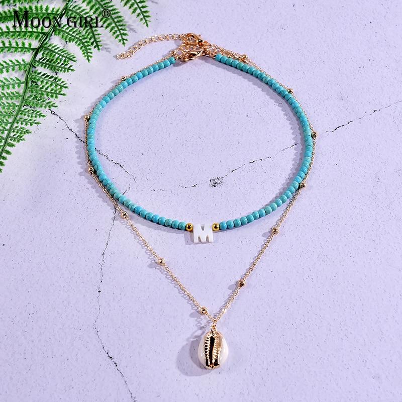 Женское ожерелье с подвеской в виде ракушек с надписью на заказ, чокер в готическом стиле, Винтажное колье в стиле бохо, летняя бижутерия, 2 ш...