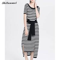 Summer Long Tshirt Dress Womens Striped Print Black Casual Maxi Dress O Neck Short Sleeve Yellow Tee Dress With Bow Belt Vestido