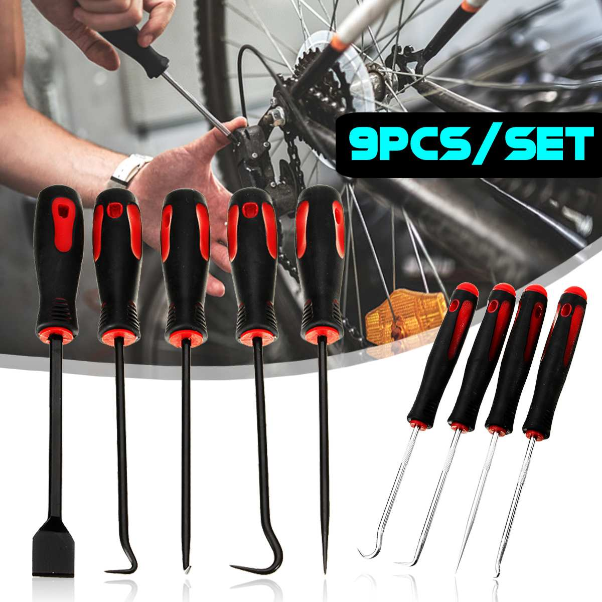Autoleader 9Pcs Scraper Pick Hook <font><b>Tool</b></font> Set O Ring Gasket Puller Seal Remover Car <font><b>Auto</b></font> Repair <font><b>Tool</b></font> Chrome Vanadium Steel image