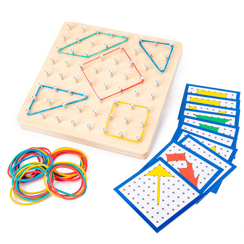 Wooden Geoboard Mathematical Manipulative Material Array Block Geo Board Graphical Educational Toy With Pattern Cards Montessori