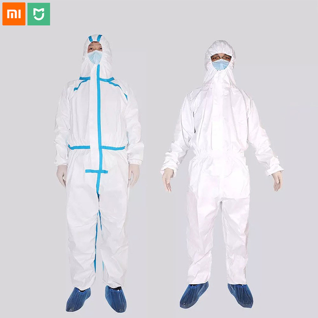 Xiaomi Mijia PPE Overall Protective Suit Clothing Dust-proof Anti-Virus Hooded Isolation Suit White Unisex Protective Coverall