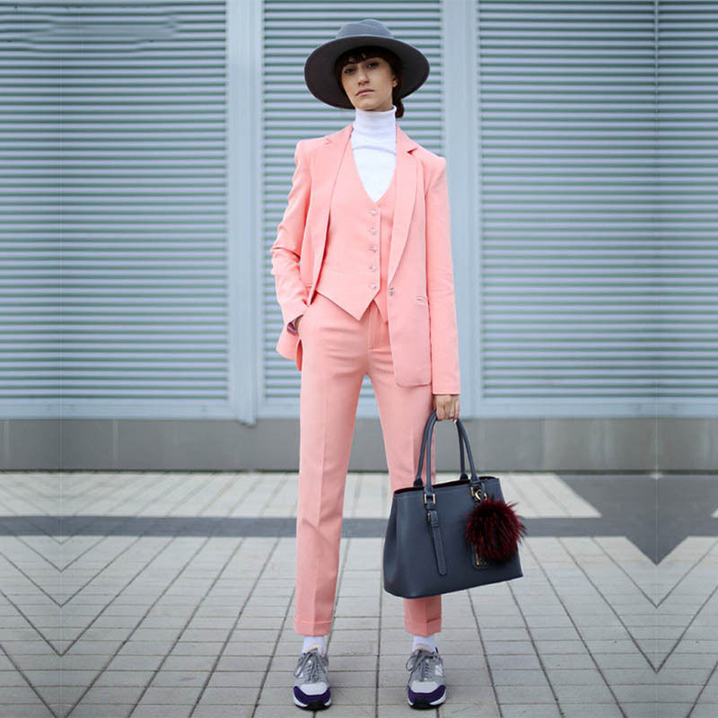 NEW Pink 3 Piece Set Womens Business Suits Ladies Office Suits Women Tuxedo Female Trouser Suit Fromal Ladies Wedding Suits