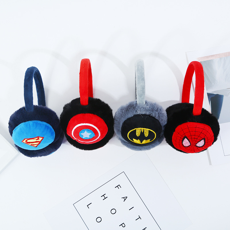 Cartoon Super Hero Winter Earmuffs Kids Spiderman Fur Earmuffs Winter Accessories Wholesale Boys Winter Accessories